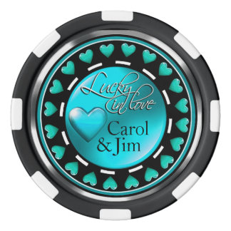 Vegas afortunado en aguamarina azul de los juego de fichas de póquer