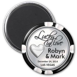 Vegas afortunado en el negro blanco del microproce imán redondo 5 cm