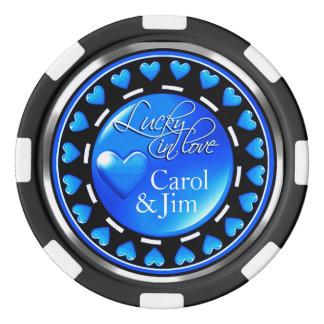 Vegas afortunado en negro azul de los corazones juego de fichas de póquer