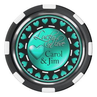 Vegas afortunado en negro de la aguamarina de los juego de fichas de póquer