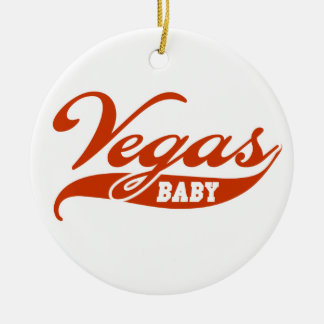 Vegas Baby Double-Sided Ceramic Round Christmas Ornament