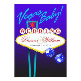 Vegas Baby! Wedding Save the Date blue Card