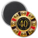 Vegas Casino Chip 40th Birthday   red gold black 2 Inch Round Magnet