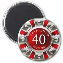 Vegas Casino Chip 40th Birthday | red silver 2 Inch Round Magnet