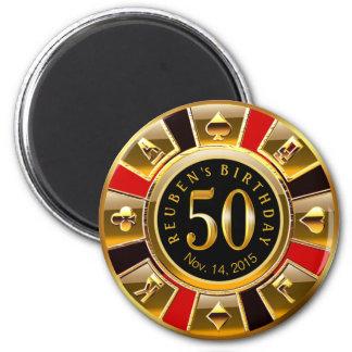 Vegas Casino Chip 50th Birthday | red gold black Magnet