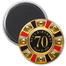 Vegas Casino Chip 70th Birthday | red gold black 2 Inch Round Magnet