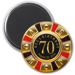 Vegas Casino Chip 70th Birthday | red gold black Magnet