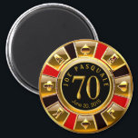 "Vegas Casino Chip 70th Birthday | red gold black Magnet<br><div class=""desc"">A very cool red,  gold and black Las Vegas Birthday Casino Chip keepsake favor magnet. Use the CUSTOMIZE IT button to add your own text.</div>"