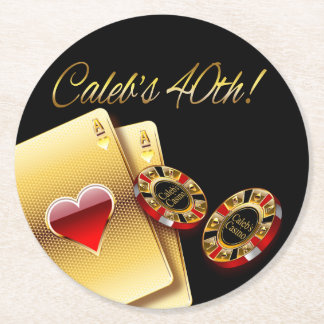 Vegas Casino Chip ASK ME 2 PUT YOUR NAMES IN CHIPS Round Paper Coaster