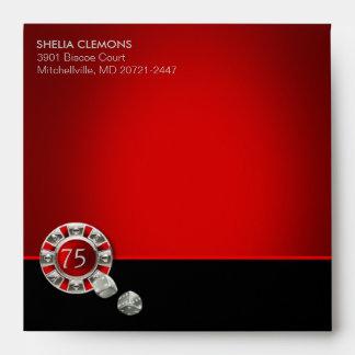 Vegas Casino Chip Red square | silver interior Envelopes