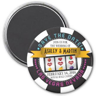 Vegas Casino Destination Wedding Save the Date 3 Inch Round Magnet