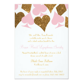 Vegas Casino Party Faux Gold Glitter and ANY COLOR Card