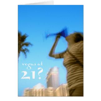 ¿vegas en 21? tarjeta de cumpleaños