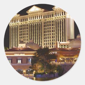 Vegas en la noche pegatinas redondas