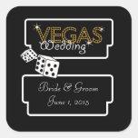 Vegas enciende a los pegatinas negros del boda pegatina cuadrada
