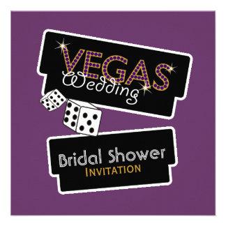 Vegas enciende la invitación nupcial púrpura de la