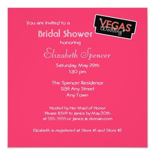 Vegas enciende la invitación nupcial rosada de la