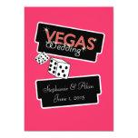 Vegas enciende la invitación rosada del boda invitación 12,7 x 17,8 cm