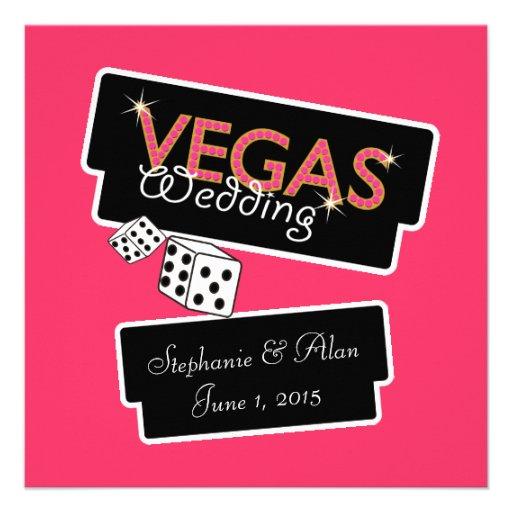 Vegas enciende la invitación rosada del boda