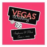 Vegas enciende la invitación rosada del boda invitación 13,3 cm x 13,3cm