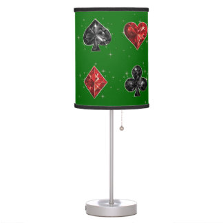 Vegas Gambling Hearts and Spades Desk Lamp