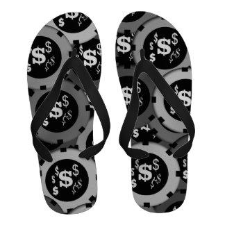 Vegas gambling lucky dollar chips sandals