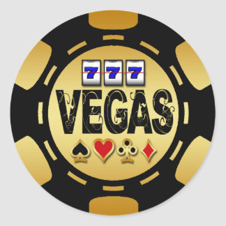 VEGAS GOLD AND BLACK POKER CHIP CLASSIC ROUND STICKER