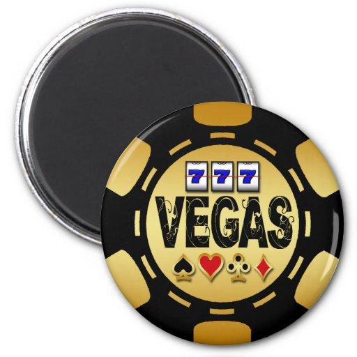 VEGAS GOLD AND BLACK POKER CHIP FRIDGE MAGNETS