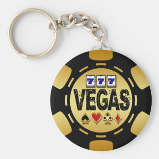 VEGAS GOLD AND BLACK POKER CHIP BASIC ROUND BUTTON KEYCHAIN