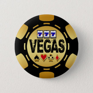 VEGAS GOLD AND BLACK POKER CHIP PINBACK BUTTON