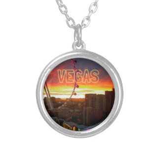 Vegas High Roller Ferris Wheel Sunrise Silver Plated Necklace