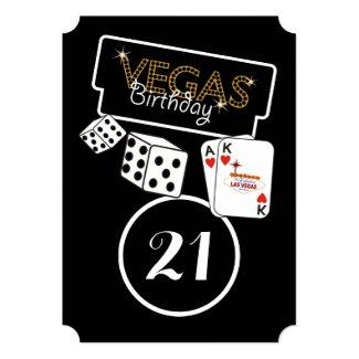 Vegas Lights 21st Birthday Party Invitation