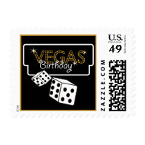 Vegas Lights Black Birthay Postage