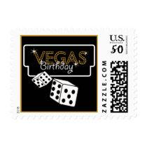 Vegas Lights Black Birthay Postage