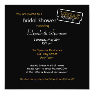 Vegas Lights Black Bridal Shower Invitation