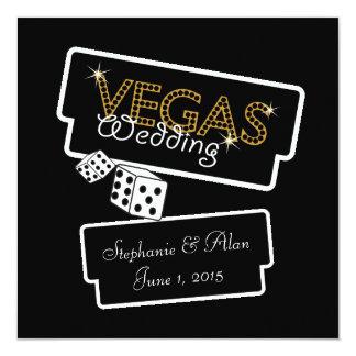 "Vegas Lights Black Wedding Invitation 5.25"" Square Invitation Card"