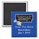 Vegas Lights Blue Save The Date Magnet