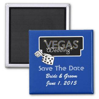 Vegas Lights Blue Save The Date Magnet