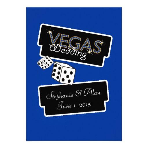 Vegas Lights Blue Wedding Invitation