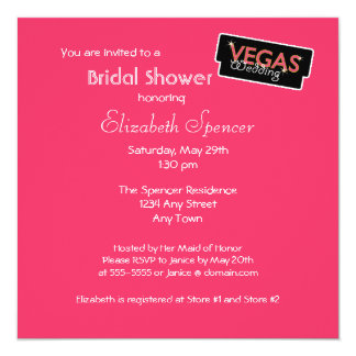 Vegas Lights Pink Bridal Shower Invitation