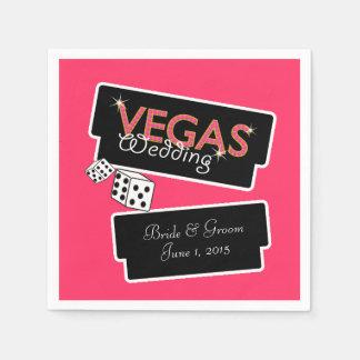 Vegas Lights Pink Wedding Paper Napkins