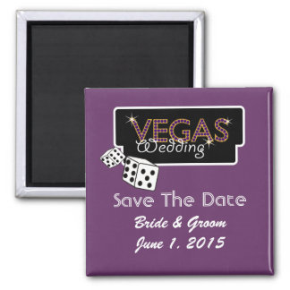 Vegas Lights Purple Save The Date Magnet