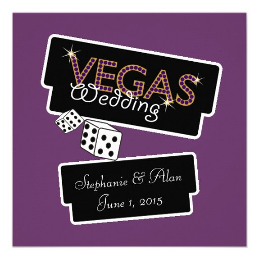 Vegas Lights Purple Wedding Invitation