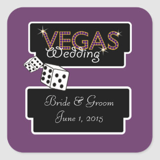 Vegas Lights Purple Wedding Stickers