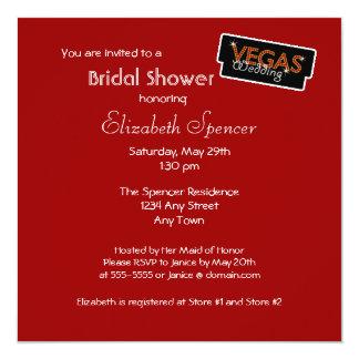 Vegas Lights Red Bridal Shower Invitation