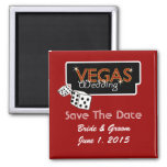 Vegas Lights Red Save The Date Magnet