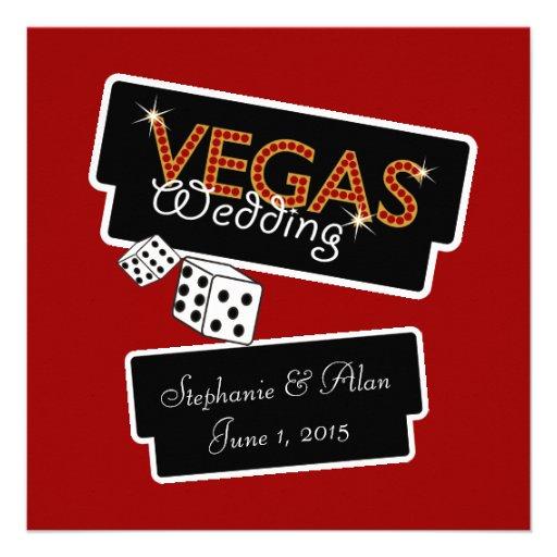 Vegas Lights Red Wedding Invitation