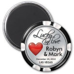 Vegas Lucky in Love Casino Chip white red 2 Inch Round Magnet