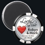 "Vegas Lucky in Love Casino Chip white red Magnet<br><div class=""desc"">If you're Doing It In Vegas or having a Las Vegas themed wedding or reception, these snazzy white & black casino chip magnets make the perfect wedding favors. Use the orange ""Customize It"" button above to personalize this magnet with your own text and font preferences. This magnet is available in...</div>"