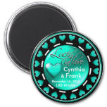 Vegas Lucky in Love Hearts Casino Chip aqua 2 Inch Round Magnet